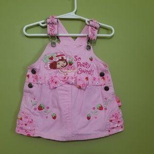 Vintage Strawberry Shortcake overall dress 12 mo